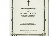 Original Ron Kray Funeral Order Of Service