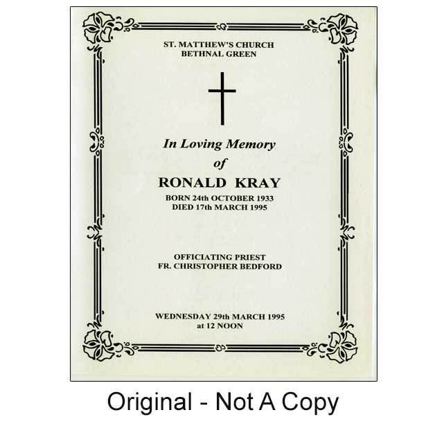 Original Ron Kray Funeral Order Of Service