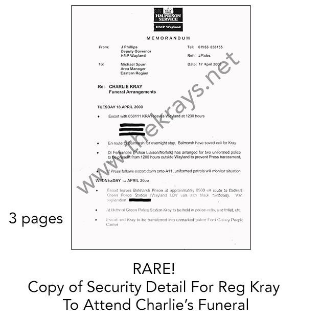 RARE Copy of Reg Kray HMP Security Detail