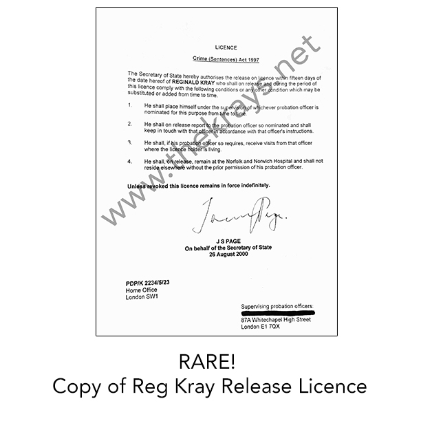 RARE Copy Of Reg Kray Release Licence